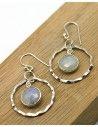 Boucle d'oreille pierre de lune argent - Mosaik bijoux indiens