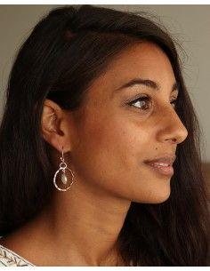 Boucle d'oreille pierre de lune argent - Mosaik bijoux indiens 2