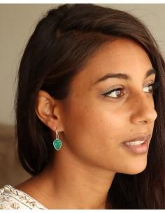 Boucle d'oreille pierre verte taillée - Mosaik bijoux indiens 2