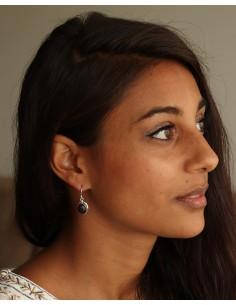 Boucles d'oreilles argent améthyste - Mosaik bijoux indiens 2