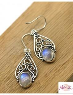 Boucles d'oreilles argent pierre de lune - Mosaik bijoux indiens