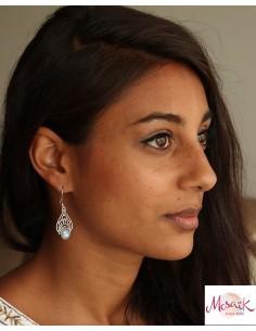 Boucles d'oreilles argent pierre de lune - Mosaik bijoux indiens 2