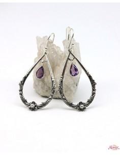 Boucle d'oreille ethnique argent pierre violette - Mosaik bijoux indiens