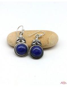 Boucles d'oreilles argent pierre bleue - Mosaik bijoux indiens