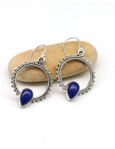 Boucle argent pierre bleue - Mosaik bijoux indiens