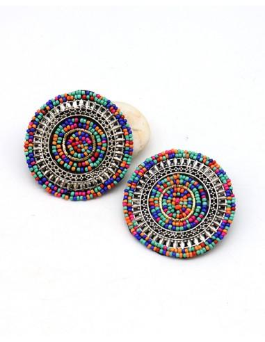 Clous d'oreilles colorés - Mosaik bijoux indiens