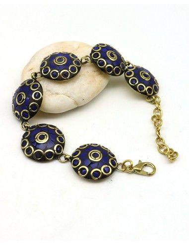 Bracelet doré et bleu - Mosaik bijoux indiens