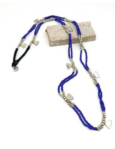 Sautoir en perles bleues - Mosaik bijoux indiens