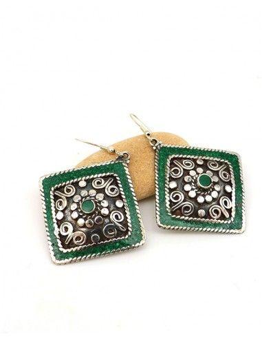 Boucle d'oreille ethnique verte - Mosaik bijoux indiens