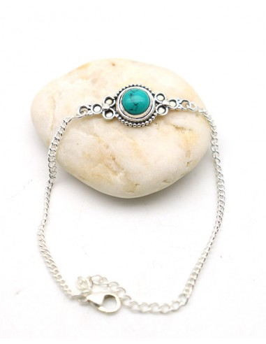 Bracelet turquoise argent - Mosaik bijoux indiens