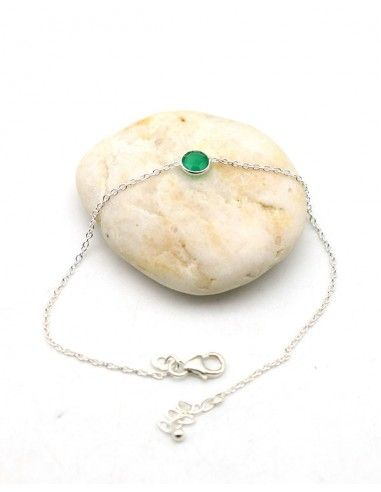 Bracelet argent pierre verte naturelle - Mosaik bijoux indiens