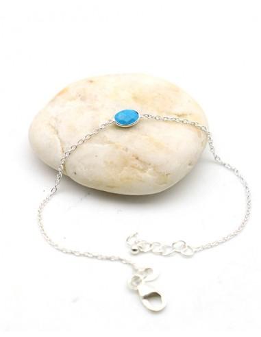 Bracelet turquoise naturelle fin en argent - Mosaik bijoux indiens