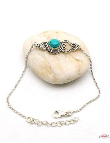 Bracelet ethnique argent turquoise - Mosaik bijoux indiens