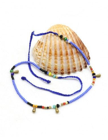 Chaine de pied perles bleues - Mosaik bijoux indiens