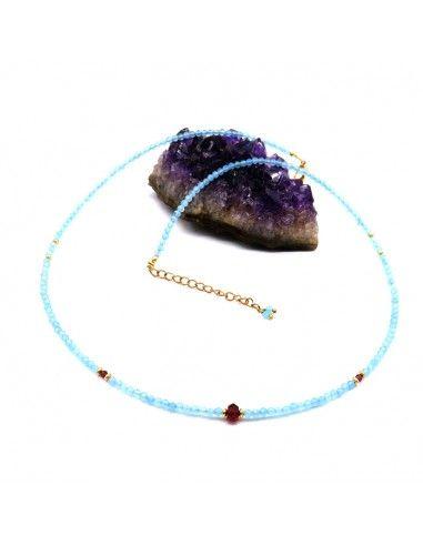 collier topaze bleue taillée - Mosaik bijoux indiens