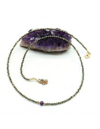 Collier pyrite - Mosaik bijoux indiens