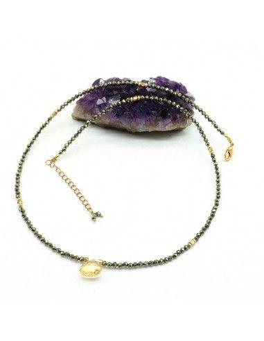 Collier pyrite taillée - Mosaik bijoux indiens