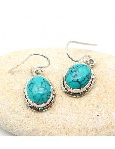 Boucle d'oreille turquoise - Mosaik bijoux indiens