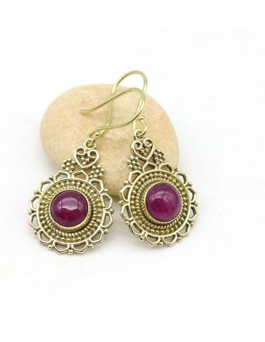 Boucles d'oreilles dorées pierre rose - Mosaik bijoux indiens