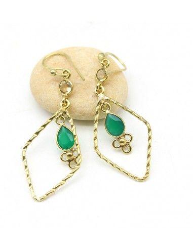Boucle d'oreille dorée pierre verte - Mosaik bijoux indiens