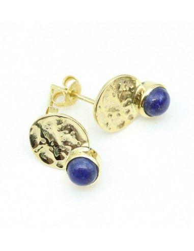 Puces d'oreilles dorées lapis lazuli -  Mosaik bijoux indiens