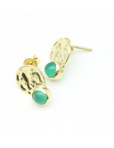 Clou d'oreille dorées et agate verte - Mosaik bijoux indiens