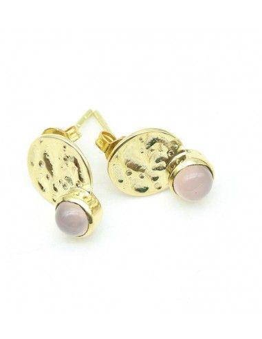 Clou d'oreille doré et quartz rose -  Mosaik bijoux indiens