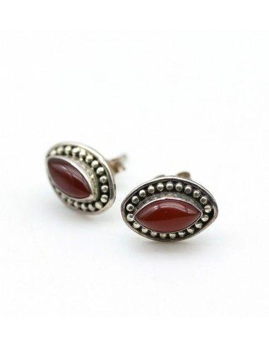 clou d'oreille cornaline - Mosaik bijoux indiens