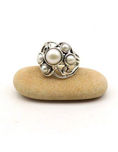 Bague argent perles blanches - Mosaik bijoux indiens