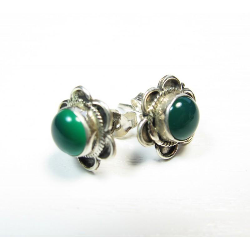 boucle oreille argent clou en agate verte et forme de fleur bijoux argent. Black Bedroom Furniture Sets. Home Design Ideas