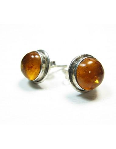 Clou d'oreilles ronds argent et ambre - Mosaik bijoux indiens