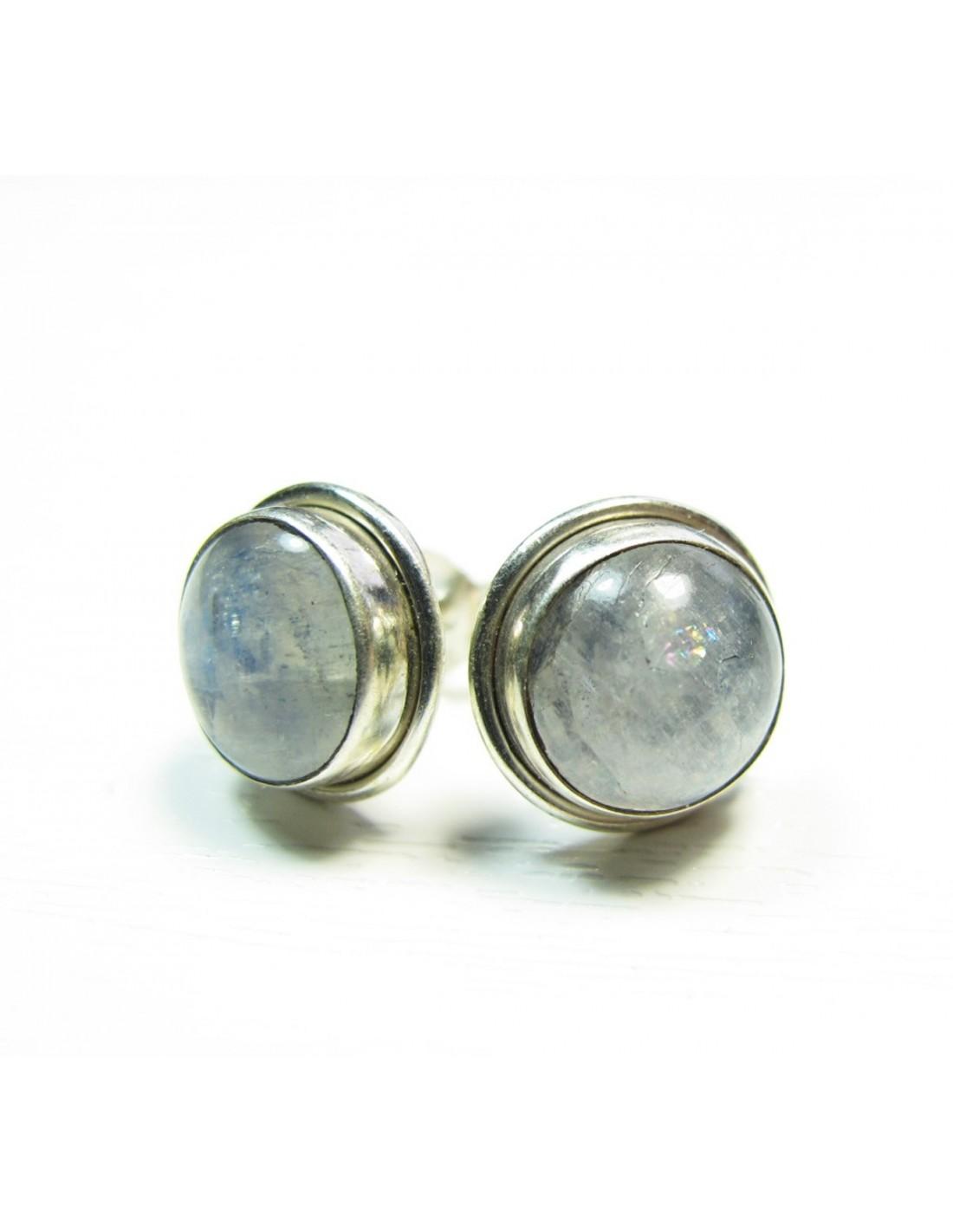boucle clous d 39 oreilles argent et pierre de lune diametre 1cm bijou en argent. Black Bedroom Furniture Sets. Home Design Ideas