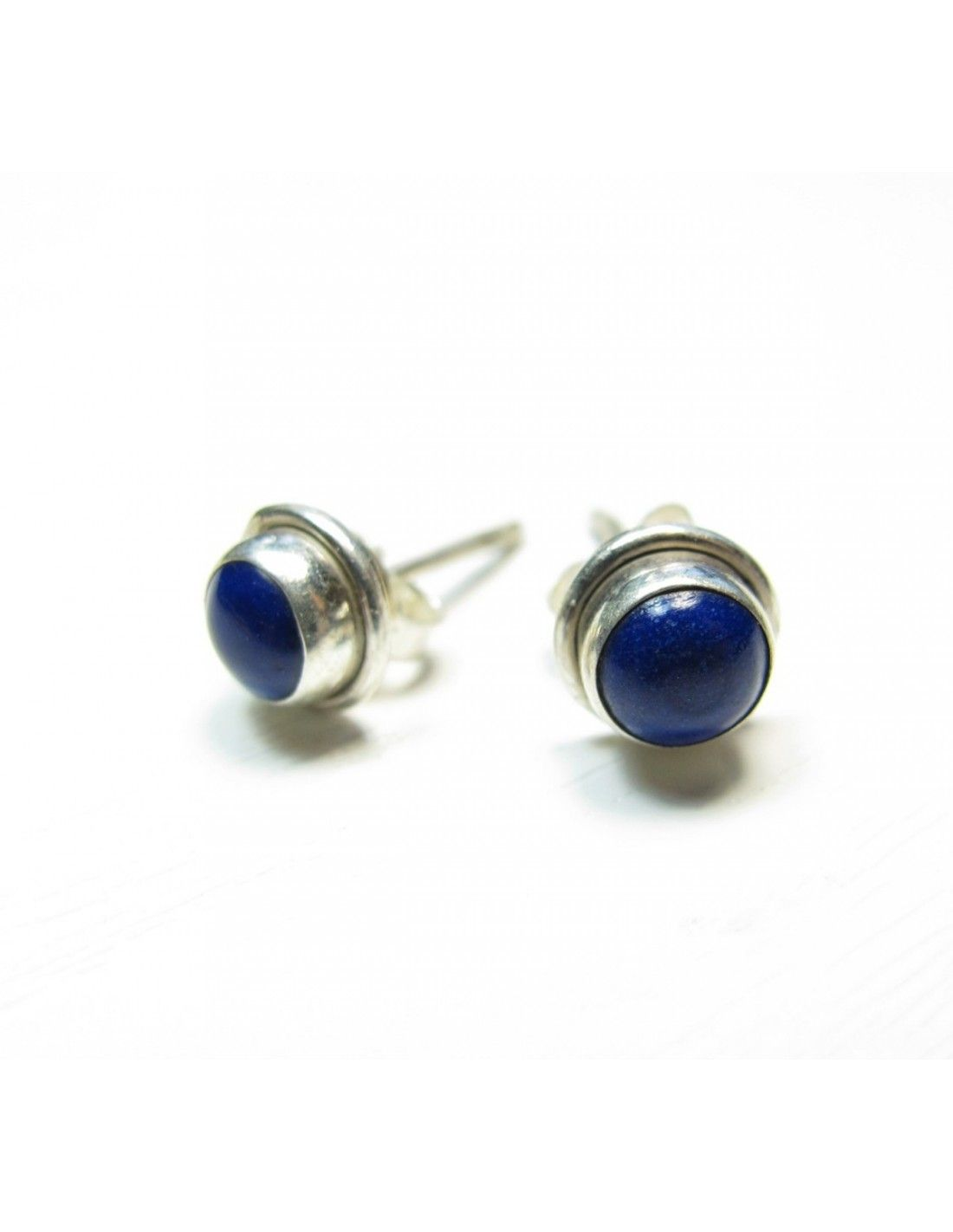 boucles clou d 39 oreilles argent et lapis lazuli monture lisse bijou d 39 oreille en argent. Black Bedroom Furniture Sets. Home Design Ideas