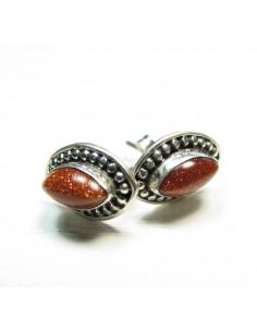 Boucles d'oreilles argent losange et pierre de soleil - Mosaik bijoux indiens