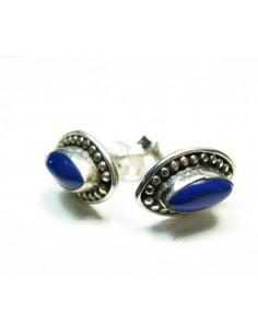 clou d'oreille argent et lapis lazuli