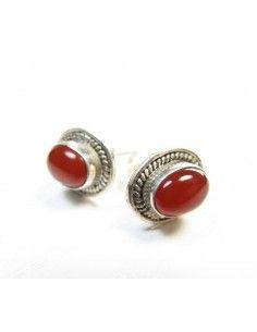 Clous d'oreilles argent et cornaline ovales - Mosaik bijoux indiens