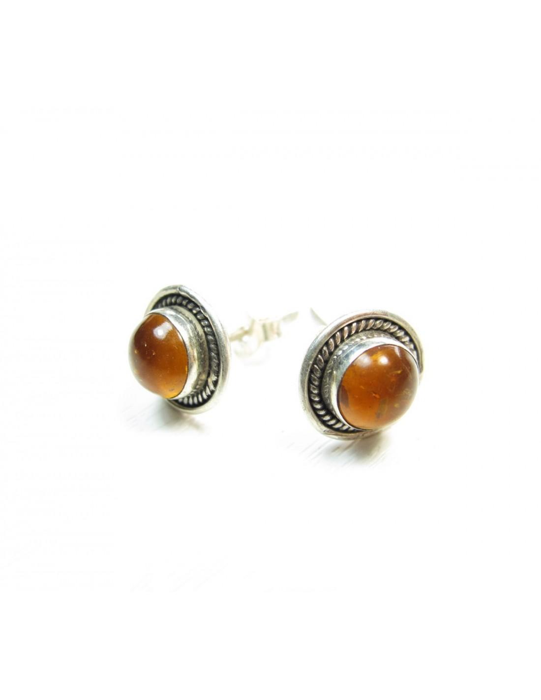 boucle d 39 oreille argent clou rond cisel et ambre bijoux argent et pierres. Black Bedroom Furniture Sets. Home Design Ideas