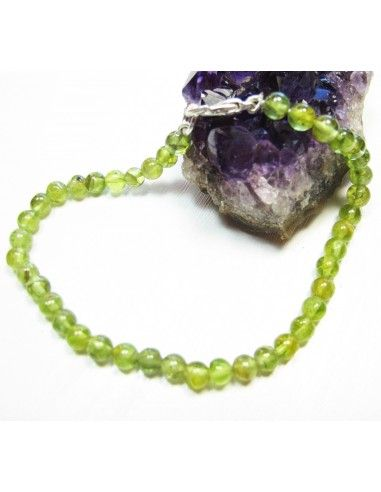 bracelet péridot perles rondes 5 mm