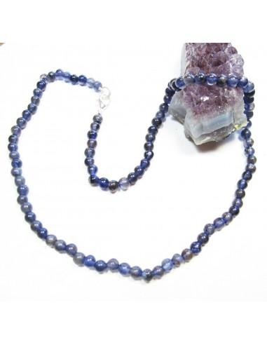 collier iolite en perles rondes 5mm