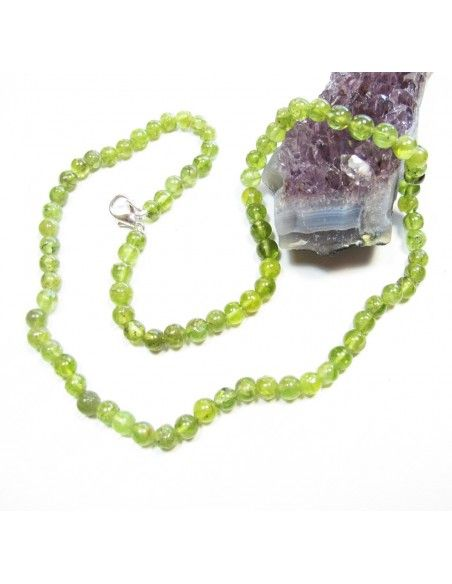 Collier péridot naturel perles rondes - Mosaik bijoux indiens