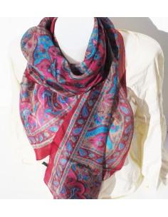 foulard en soie bordeaux et turquoise