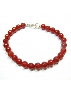 bracelet pierres rondes cornaline 6mm