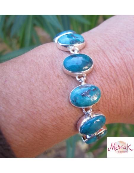 bracelet argent et turquoises