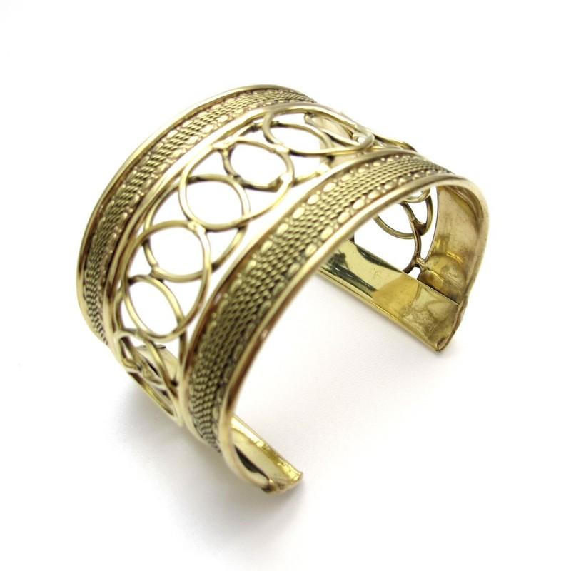 bracelet doré en laiton motifs ajourés