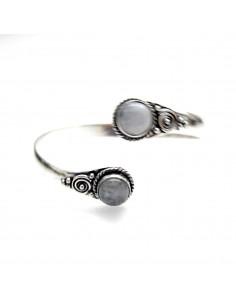 bracelet metal argenté et pierre de lune 2