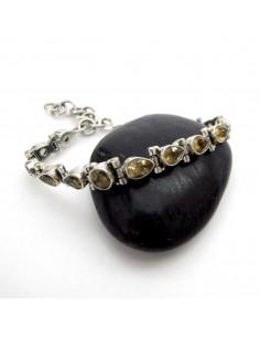 bracelet argent et pierres taillées en citrine