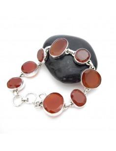 bracelet argent et pierres taillées en cornaline