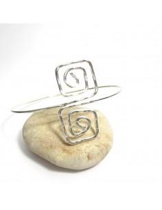 bracelet de bras argenté spirale carrée