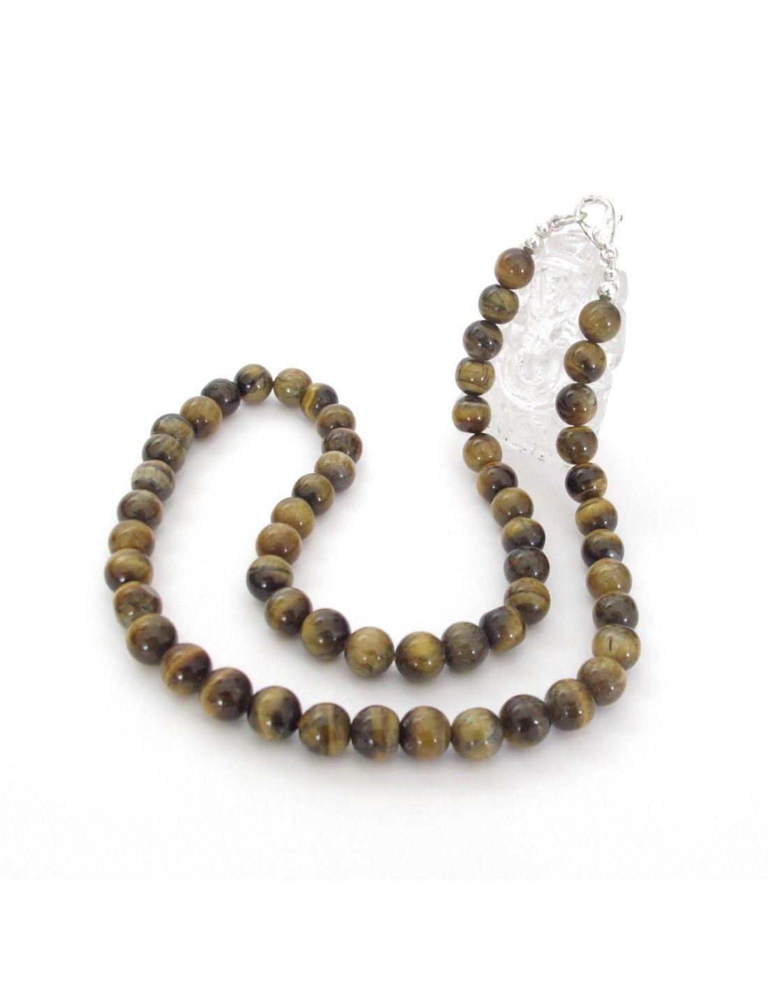 collier de perles rondes oeil de tigre 8mm bijoux en pierres cp22. Black Bedroom Furniture Sets. Home Design Ideas