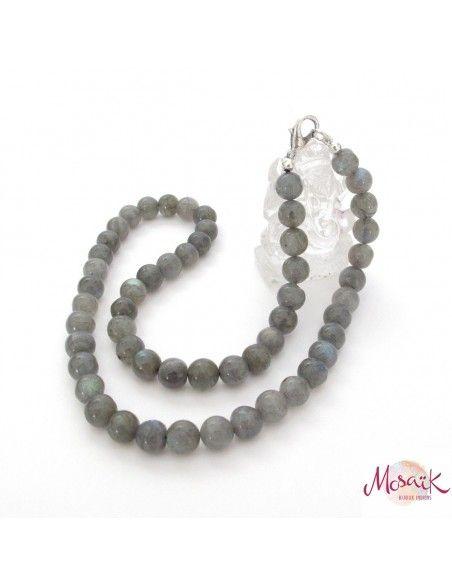 Collier labradorite naturelle perles rondes - Mosaik bijoux indiens